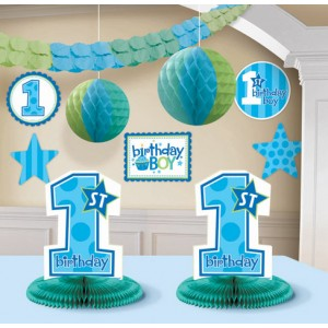 1st Birthday Boy Decoration Kit 10ct