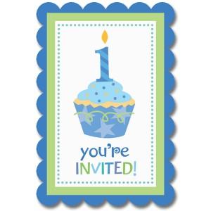 Sweet Little Cupcake Boy Postcard Invitation