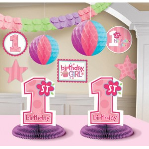 1st Birthday Girl Decoraton Kit 10ct