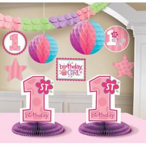 1st Birthday Girl Decoraton Kit 10ct